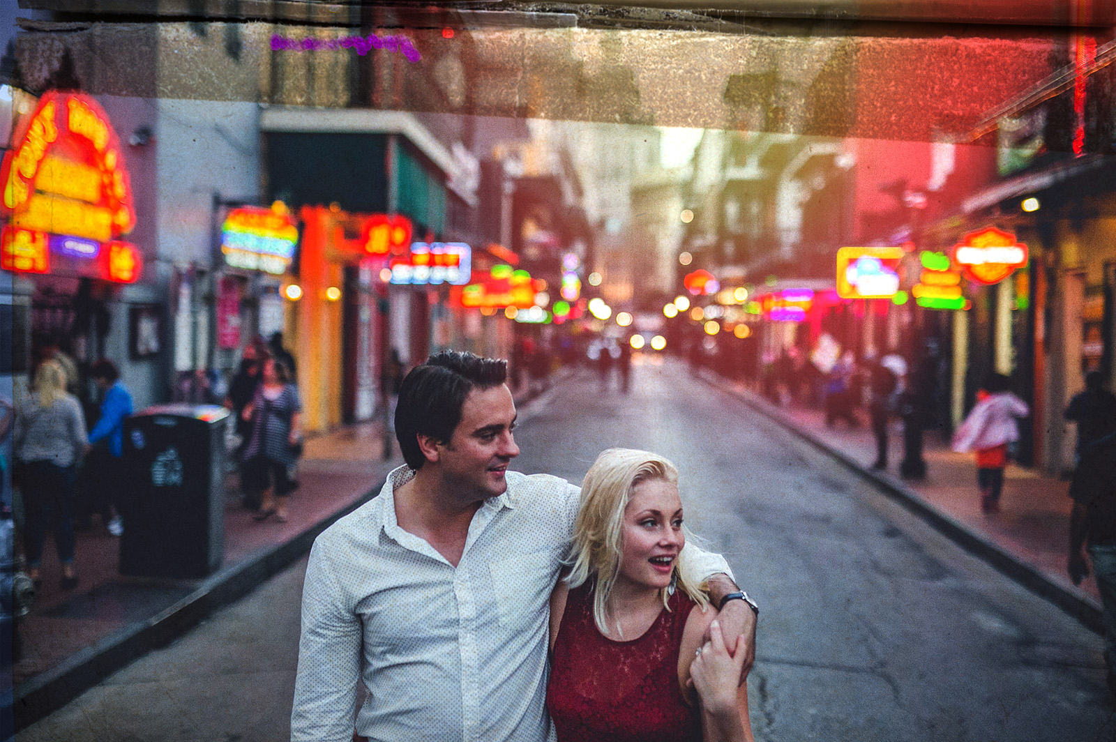 bride and beautiful blonde bride in New Orleans streets