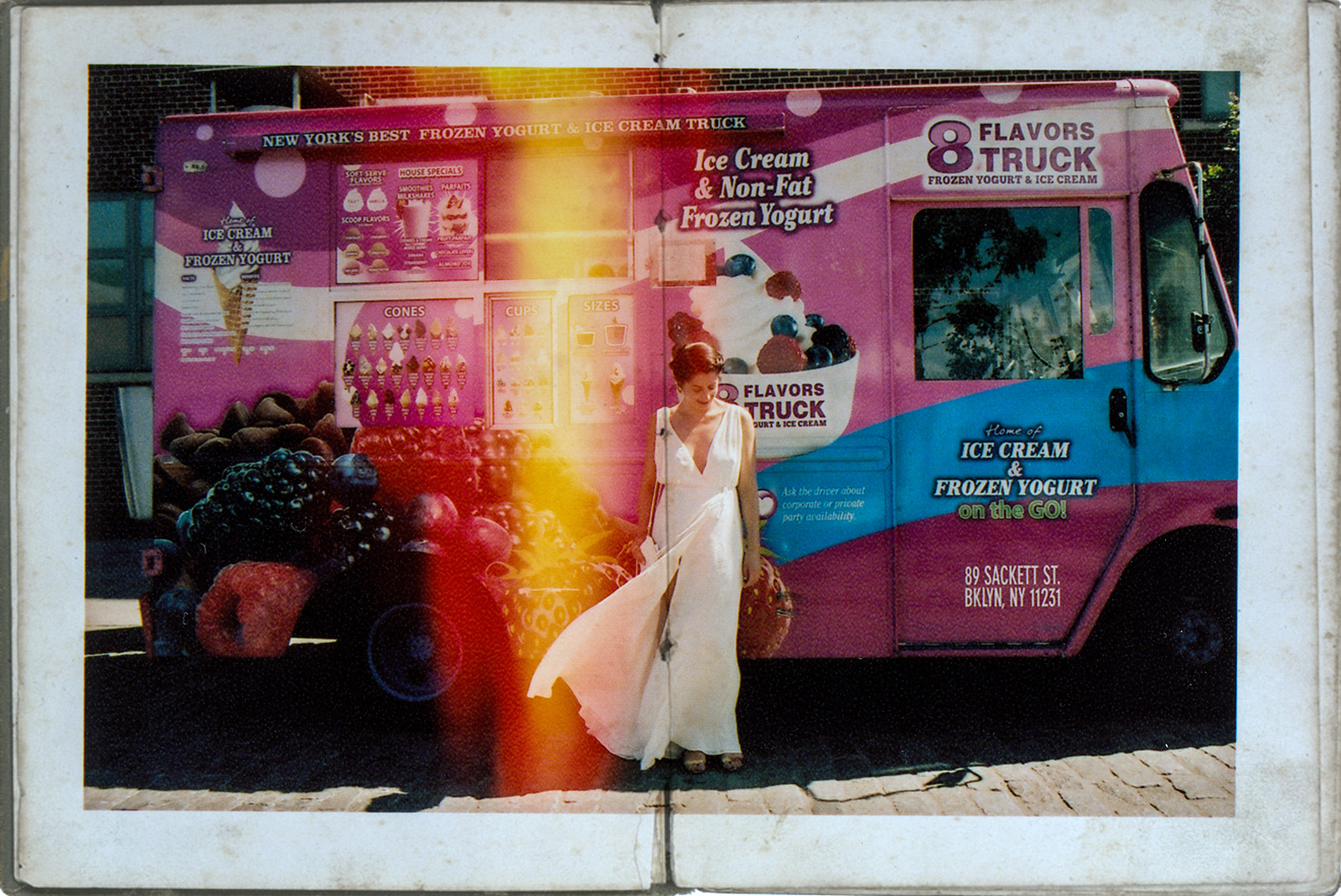 bride portrait in front of the ice cream truck in new york