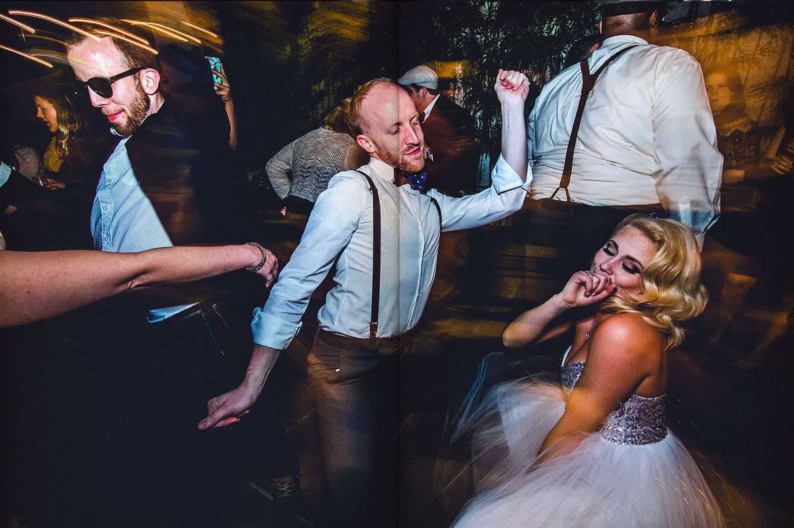 people dancing wild in new orleans wedding